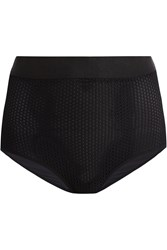 Wolford Netstation Stretch Mesh And Jersey Control Briefs Black
