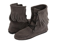 Minnetonka Tramper Ankle Hi Boot Grey Brown White Women's Pull On Boots Gray