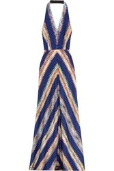 Missoni Crochet Knit Halterneck Maxi Dress Indigo