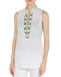 Tory Burch Tessa Embroidered Sleeveless Tunic Collins Stripe