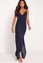 Missguided Plunge Split Front Slinky Maxi Dress Navy Blue
