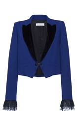 Philosophy Di Lorenzo Serafini Canvas Colorblocked Cropped Blazer Blue