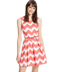 City Triangles City Studios Juniors' Pleated Chevron Print Tank Dress Coral Off White