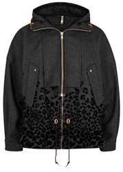 Kolor Charcoal Leopard Print Wool Blend Jacket Grey