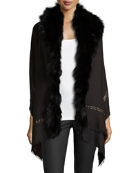 Roberto Cavalli Fox Fur Metallic Stripe Shawl Black
