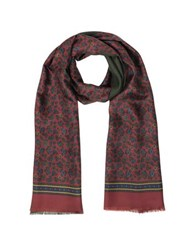 Forzieri Micro Paisley Print Silk And Modal Reversible Men's Scarf Burgundy