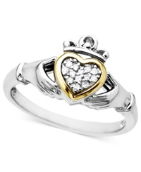 Macy's 14K Gold And Sterling Silver Ring Diamond Accent Claddagh