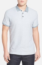Men's Robert Barakett 'Benedict' Contrast Collar Cotton Polo Pale Ash