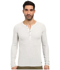 Boss Orange Topsider Heather Waffle Henley Grey Men's Clothing Gray
