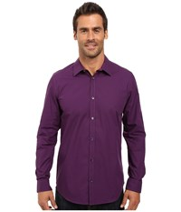 Calvin Klein Long Sleeve Infinite Cool Mini Check Poplin Shirt Grape Juice Men's Long Sleeve Button Up Purple