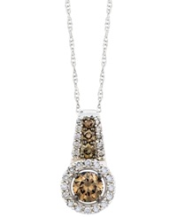 Le Vian Chocolate And White Diamond Pendant Necklace In 14K White Gold 1 2 Ct. T.W.