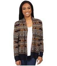 Pendleton Petite Mckenzie Cardigan Navy Multi Women's Sweater Blue