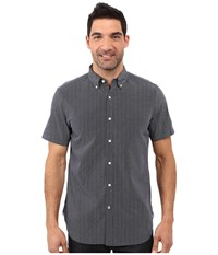 Nautica Short Sleeve Striped Dobby Shirt W Pocket Peacoat Men's Short Sleeve Button Up Blue