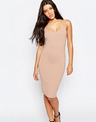 Asos Midi Cami Bodycon Dress Nude Pink