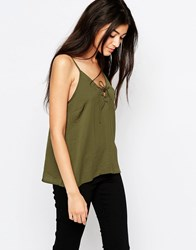 Wyldr Dont Cross Me Camisole Top With Lace Up Front Green