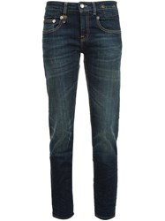 R 13 R13 Stonewashed Cropped Jeans Blue