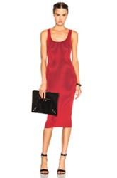T By Alexander Wang Rib Fitted Tank Dress In Red