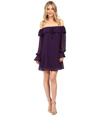 Brigitte Bailey Nel Off The Shoulder Dress With Keyhole Eggplant Women's Dress Purple