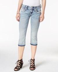 Rock Revival Cropped Raw Hem Jeans Light Blue