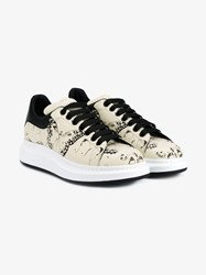 Alexander Mcqueen Butterfly Print Leather Sneakers Ivory Black White Grey Denim