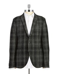 Tiger Of Sweden Wool Plaid Blazer Charcoal
