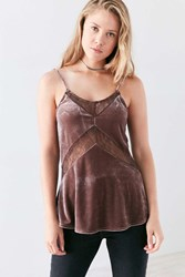 Kimchi And Blue Mia Velvet Lace Slip Cami Taupe