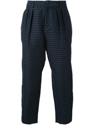 En Route Pleated Detailing Cropped Trousers Blue