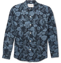 Our Legacy Floral Print Hemp And Cotton Blend Chambray Shirt Blue
