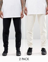 Asos 2 Pack Skinny Jersey Joggers In Black And Beige Black Whitecap Grey Multi