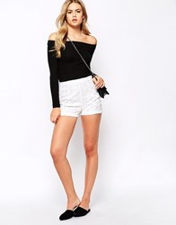 River Island High Waisted Lace Short White
