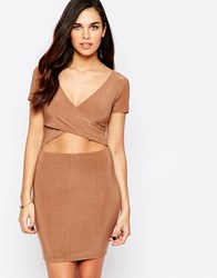 Ax Paris Bodycon Dress With Midriff Cut Out Camel Beige