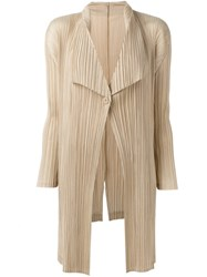 Issey Miyake Pleats Please By Pleated Draped Ligthweight Coat Nude Neutrals