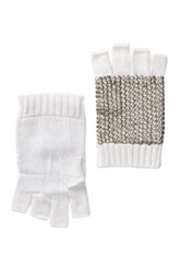 Bcbgmaxazria Sequin Fingerless Gloves White