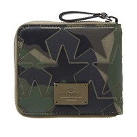 Valentino Camo Stars Leather And Canvas Zip Wallet Green