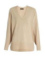 The Row Jabbie Wool And Cashmere Blend Sweater Beige