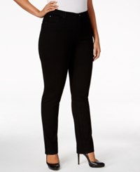 Charter Club Plus Size Lexington Embellished Pocket Straight Leg Jeans Only At Macy's Saturated Black