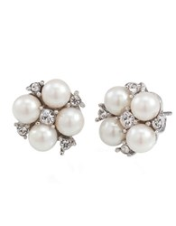 Carolee Pearl Cluster Earrings Pearl Silver