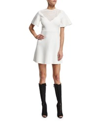 Giambattista Valli Kimono Sleeve Dress W Macrame Bib White