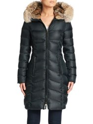 Dawn Levy Daphne Fur Trim Down Puffer Coat New Green