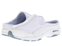 Easy Spirit Traveltime White Leather Light Blue Women's Clog Shoes