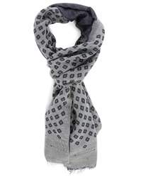 Hartford Blue Grey Double Faced Patterns Woollen Scarf