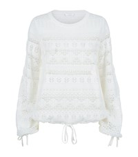 Chloe Crochet Tie Sweater Female White