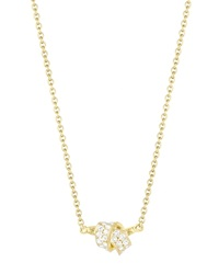 Carelle Diamond Pave Mini Knot Pendant Necklace In Yellow Gold 16