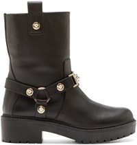 Versace Black Leather Medusa Buckle Boots