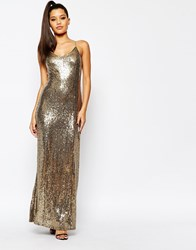 Missguided Strappy Glitter Sequin Maxi Dress Gold