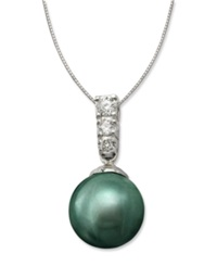 Macy's Cultured Tahitian Black Pearl 9Mm And Diamond 1 10 Ct. T.W. Pendant Necklace In 14K White Gold