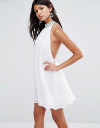 Pixie And Diamond High Neck Shift Dress With Embellished Neck White