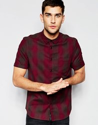 Asos Shirt With Shaded Grid Check In Half Sleeve Burgundy Red