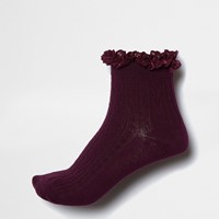 River Island Womens Dark Red Frill Cable Knit Socks