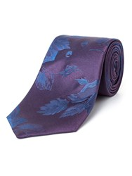 Paul Costelloe Fleet Floral Silk Tie Purple